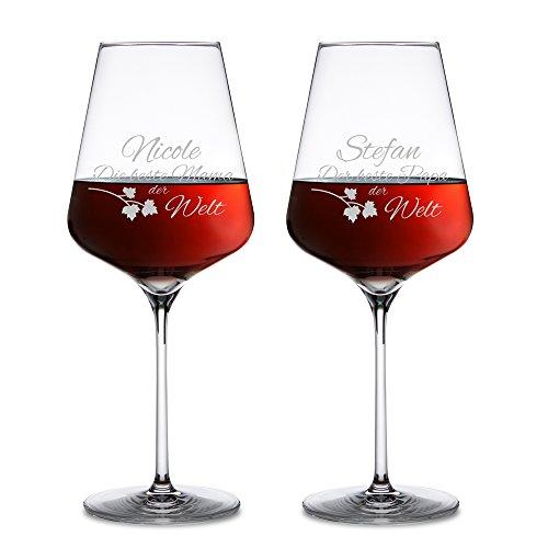 r - 2er Set Weingläser mit Gravur für Mama und Papa - Personalisiert mit Namen - Weinglas als Geschenkidee für die besten Eltern der Welt - Muttertagsgeschenke - Vatertagsgeschenke ()