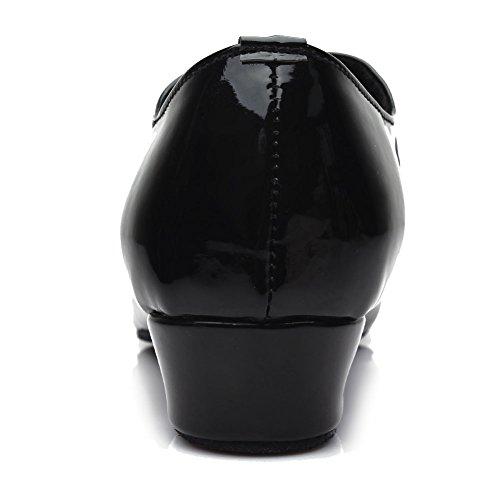 HROYL pour l'homme Chaussons de danse latine/Dance shoes en Cuir FR-702 Noir