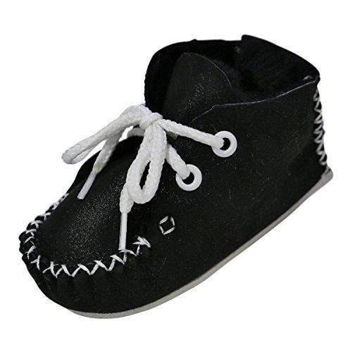 Hollert German Leather Fashion Chaussons de Fourrure Agneau Bébé - Maxi Chaussures avec Laine Chaussures en Cuir Semelle en Cuir echt Merino Fourrure D'Agneau Premium