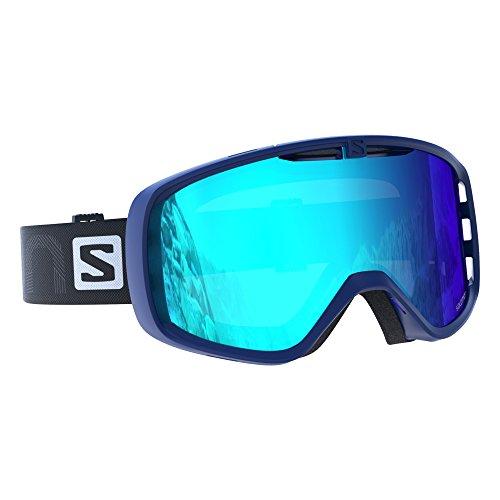 Salomon Unisex Skibrille für Brillenträger, Für verschiedenste Wetterverhältnisse, Blaue Multilayer Scheibe (auswechselbar), Airflow-System, blau, Aksium, L39904600
