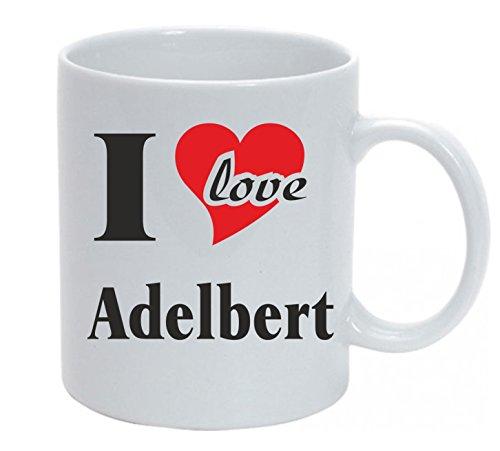 Kaffeetasse bedruckt mit I Love Adelbert oder individuell gestaltbar