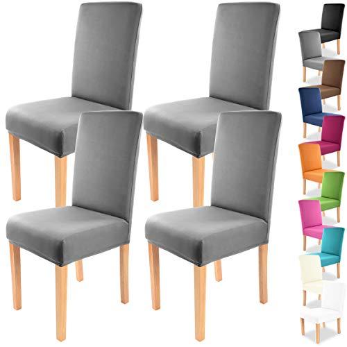 4pcs Gräfenstayn® Fundas para sillas elásticas Charles - diferentes colores para respaldos redondos y cuadrados - BENEFIT Wrap - ajuste bi-elástico con sello Öko -Tex Standard 100 (Antracita)