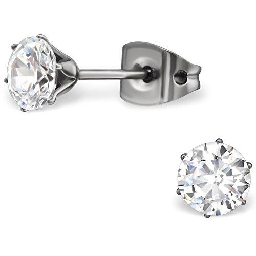 EYS JEWELRY Damen-Ohrstecker rund Titan Zirkonia 5 x 5 mm kristall-weiß Ohrringe