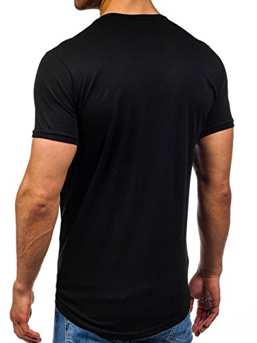 BOLF Herren T-Shirt Tee Kurzarm Rundhals Slim Fit Long Party Classic 3C3 Motiv Schwarz
