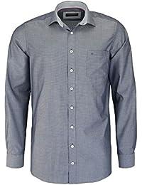 CASAMODA Comfort Fit Hemd Langarm New Kent Kragen Muster schwarz