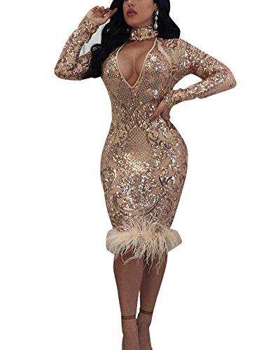 Yonglan donna capestro v-collo maniche lunghe vestito casual slim paillettes stampa del merletto vestiti bodycon midi abito rose oro m