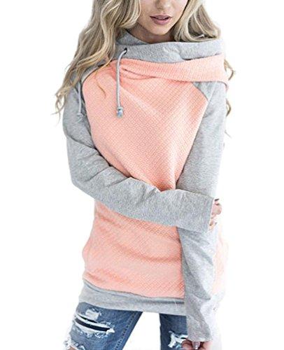 Baymate Donna Autunno Inverno Elegante Moda Pullover Maniche Lunghe Felpe con Cappuccio Sweatshirt Casual Maglietta Tops Pink