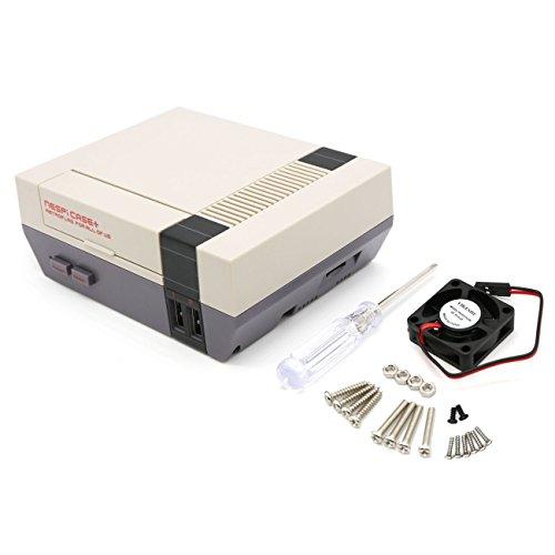 YIKESHU NESPI Case, Retroflag Nespi Case Plus Funktionale Power-Taste mit Safe Shutdown für Raspberry Pi 3 B + (B Plus), mit Kleinem Bürstenlosen Lüfter (Case + & Lüfter) (Pi Nes Raspberry Case)