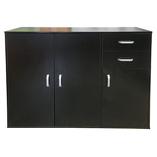 Redstone Sideboard Cupboard - Black White Beech or Dark Walnut - 3 Doors + 2 Drawers - Wooden Cabinet Chest Unit (Black)