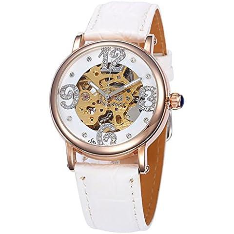 GuTe Fashion donna con scheletro meccanico automatico, colore: bianco diamante-Orologio da polso, colore: oro, custodia, colore: rosa - Womens Diamante Orologio Automatico