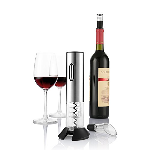 Casavidas Zanmini Electric Wine Opener Automatic Wine Bottle Cork Opener Kit Portable Corkscrew Cordless with Foil Cutter & Vacuum Stopper: Silver