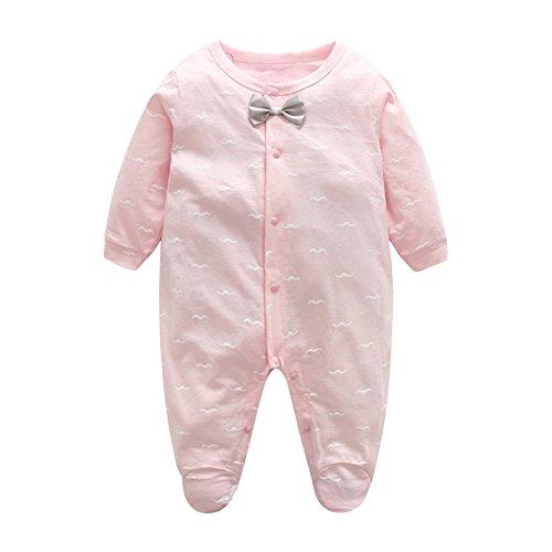 Cotton Romper Footie Infant Girls Boys Bodysuit Clothes (Rosa Footies)