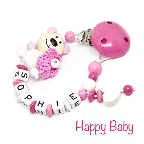Schnullerkette mit Namen für Junge & Mädchen | VIELE INDIVIDUELLE MODELLE | Personalisierte Nuckelkette mit Wunschnamen (bär, rosa, häkelperle, blume, herz)