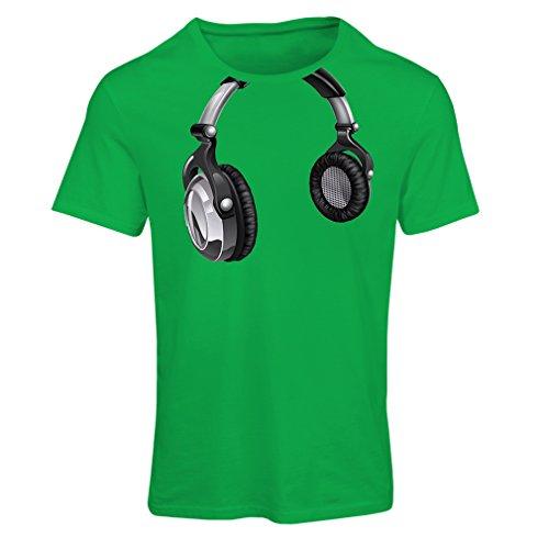 Frauen T-Shirt for Music Lovers - DJ Gift, Retro Music, Electronics, Headphone Print (XX-Large Grün Mehrfarben)