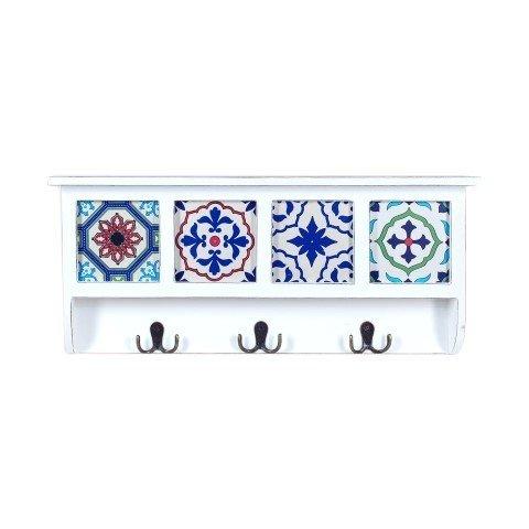 Art Deco Home - Perchero Pared 3 Pomos Madera 52 cm - 14959SG