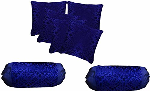 AMAZON GREAT INDIAN FESTIVAL SALE DISCOUNT - Belive-Me Velvet Floral Blue Cushion Covers (40X40 cm) Set of 5 with Bolster Covers (30X60 cm) Set of 2 (Freebies: Golden String for Covers)