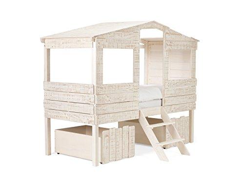 massivum Kinder-Bett Safari 221x179x100 cm aus Holz Pinie Massiv Weiß Lackiert Jungen-Bett Mädchen-Bett für Kinderzimmer Liegefläche 90x200 cm