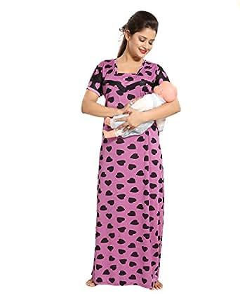 Tucute Women's Beautiful Heart Print Feeding / Maternity / Nursing Nighty/ Nightwear. (Lavender) 1329