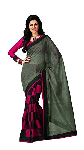 Vipul Bollywood Designer Women's Branded Green & Pink Casual Wear Half And Half Printed Silk Saree ( Best Gift For Mummy Mom Wife Girl Friend, Exclusive Offers and Sale Discount on Sarees )  available at amazon for Rs.327