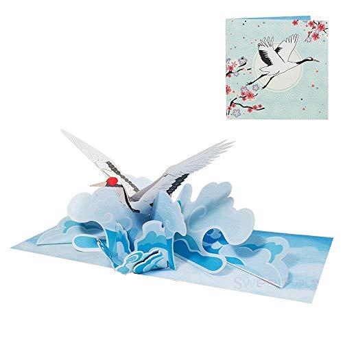 Geburtstagskarte Kranich Glückwunschkarte Geburtstag 3D Pop Up Karte Tiere Vogel Gutschein Glückwunsch zur Geburt Muttertag Danksagung - Kranich