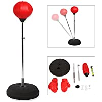 Boxing Punching Bag, Adjustable Free Standing Punch Bag Speed Ball Adults Kids Boxing Set with Gloves and Hand Pump