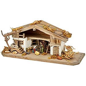 Unbekannt NK04 Nativity Stable Wooden Nativity Scene with 5 Pieces Set of figurines, solid wood, colourful, 30 x 11 x 13 cm