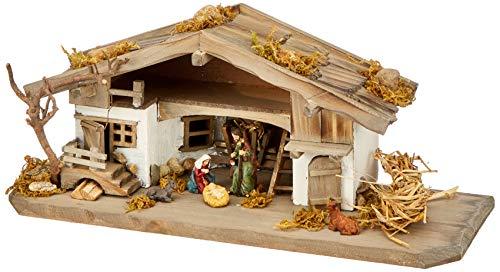 Unbekannt NK04 Krippenstall-Weihnachtskrippe-Holzkrippe-Tischkrippe inkl. 3 Teilg. Figurenset, Vollholz, Bunt, 30 x 11 x 13 cm