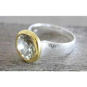 Grüner Amethyst-Prasiolith Mixed Metall vergoldet Sterling Silber Ring US-Größe 9 / Diameter 19
