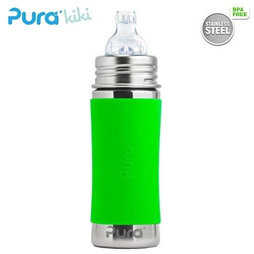 Pura Kiki Trinklernflasche - 325ml - XL Trinklernaufsatz (inkl. Schutzkappe) Pura Farbe/Design Blank + Grüner Überzug