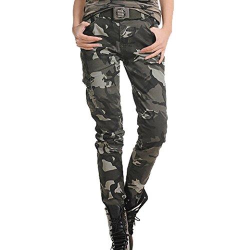 Calvinmetoo Damen Hose Camouflage Baumwolle-Mix Lange Camouflage Elastische Hose Spread Hosen asiatische Größe XXL / EU Größe XL (819#)