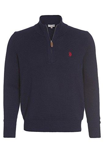 Preisvergleich Produktbild US POLO Troyer mit Zipper - Herren Pulli Pullover Sweater Shirt Oberteil Strick dunkelblau,M