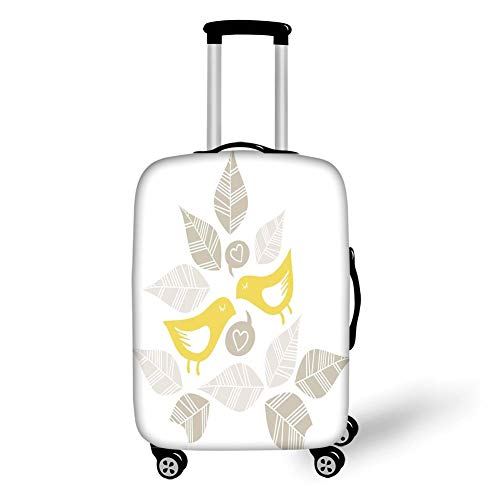 Travel Luggage Cover Suitcase Protector,Grey and Yellow,Abstract Modern Art Deco Inspired Birds and Leaves,Light Brown Marigold and White,for Travel