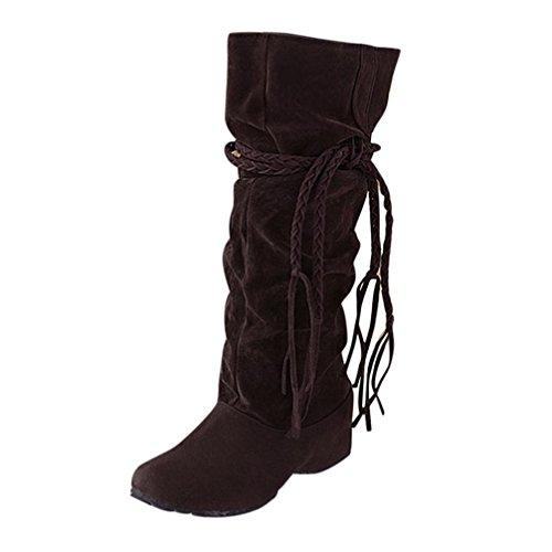FNKDOR Damen Unsichtbarer Absatz Stiefel Boots Rutschfest Winterstiefel Elegant Schuhe(Braun,EU:38 (CN:39))