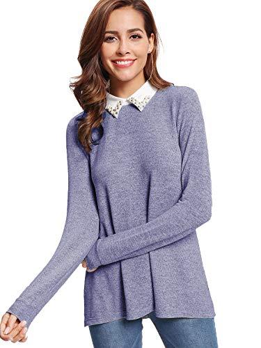 DIDK Damen Langarm Pullover Farbblock Loose Tunika Faux Twinset Elegant  Bluse mit Perlen Blau L 34d8215dac