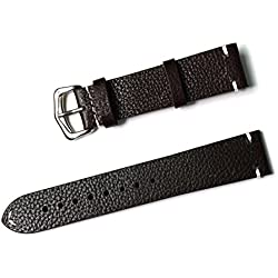 Silvercell Mens Womens Genuine Leather Vintage Style Watch Strap Band Blacksmith, Spring Bars, Buckle Black 18mm