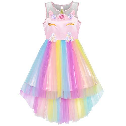 Sunny Fashion Vestito Bambina Fiore Unicorno Arcobaleno Costume di Halloween Festa 10 Anni