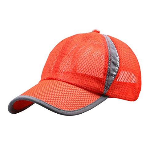 Sommer Baseball Cap,LUCKDE Sonnen Sommerhut Strandhut Herren Damen Mesh Kappen Baseballmütze Hip Hop Leichte Schiebermütze Sommermütze uv Schutz Mütze Bucket Hat (Orange)