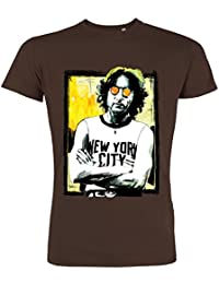 Pushertees - T-Shirt Mann Chocolat LTB-44 Hand gezeichnet di Lennon t-shirt NYC