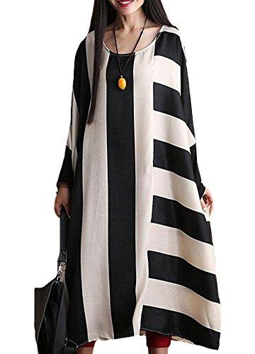 MatchLife Femme Plus Size Rayure O-Cou Robe Beige