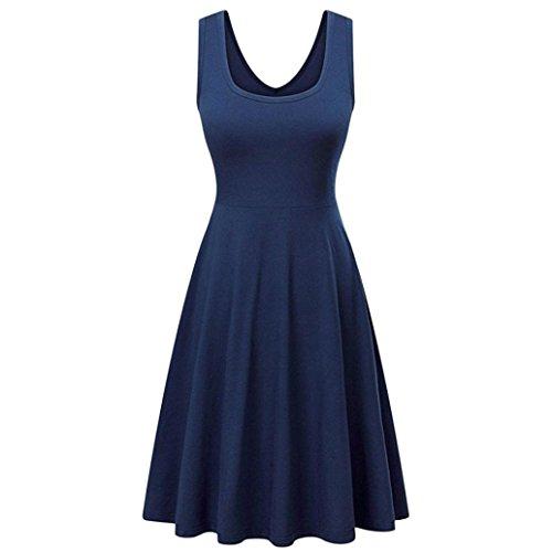 UFACE Ärmelloses Einfarbiges Weste Kleid Frauen Sommer Solid Casual ärmelloses Kleid Outdoor (S, Marine) (Kleid ärmelloses Legeres)