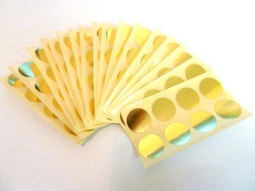 Minilabel - Adesivi rotondi di diametro pari a 19 mm, effetto lucido, 135 pezzi, colore oro
