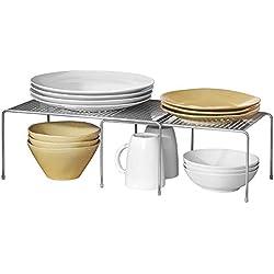 mDesign étagère de cuisine – égouttoir pratique pour plus d'espace de rangement – étagère cuisine télescopique rétractable – en métal