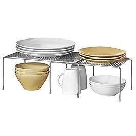 mDesign Porta piatti e Porta stoviglie allungabile – Scaffale cucina salvaspazio – Ideale per ottimizzare gli spazi e…