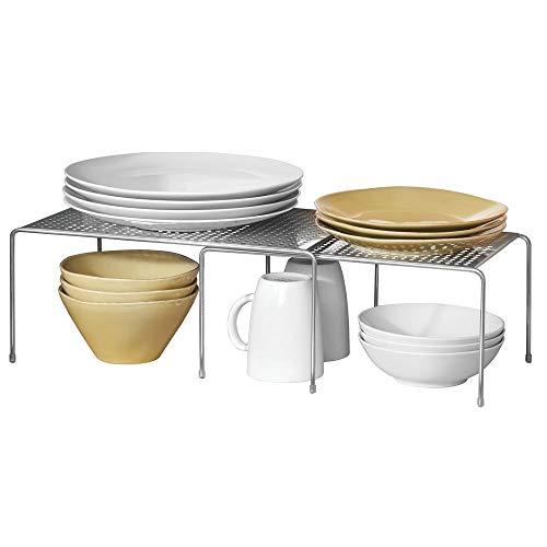 Mdesign porta piatti e porta stoviglie allungabile - scaffale cucina salvaspazio - ideale per ottimizzare gli spazi e sfruttare ogni centimetro - argento