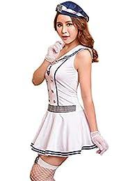 Frauen Rassig Lingerie Kostüme Sexy Maid Krankenschwester Navy Game Uniform Outfit Unterwäsche Set Body Weiß Blau Gestreiftes Kleid
