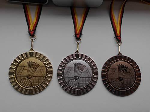 Fanshop Lünen Medaillen Set - Große Metall 70mm - Gold, Silber, Bronze - Badminton - Federball - Medaillenset - mit Alu Emblem 50mm - (Gold,Silber,Bronce) - mit Medaillen-Band - (e107) -