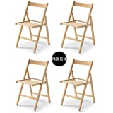 Tued - Pack de 4 sillas plegables (Natural)