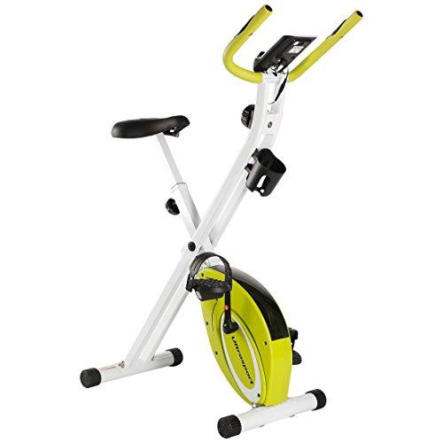 Ultrasport F-Bike Advanced Bcicleta Estática y Fitness Sillín de Gel, Portabidones y Bidón, Pantalla LCD, Sensores de Pulso, Compacta y Plegable, Carga Máxima 110 kg, Unisex Adulto, Verde, OS