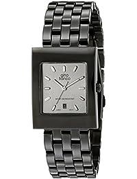 gino franco Men's 927SL Square Gunmetal Ion-Plated Bracelet Watch