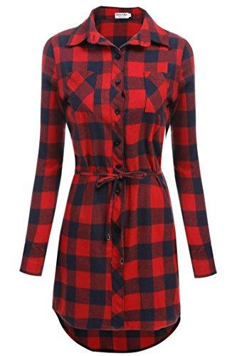 hotouch Mujer Cuadros vestido manga larga camisa vestido Camiseta Blusa Vestido cuadros vestido con cinturón Typ1-Rotmarineblau 48